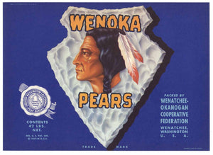 Wenoka Brand Vintage Wenatchee, Washington Pear Crate Label