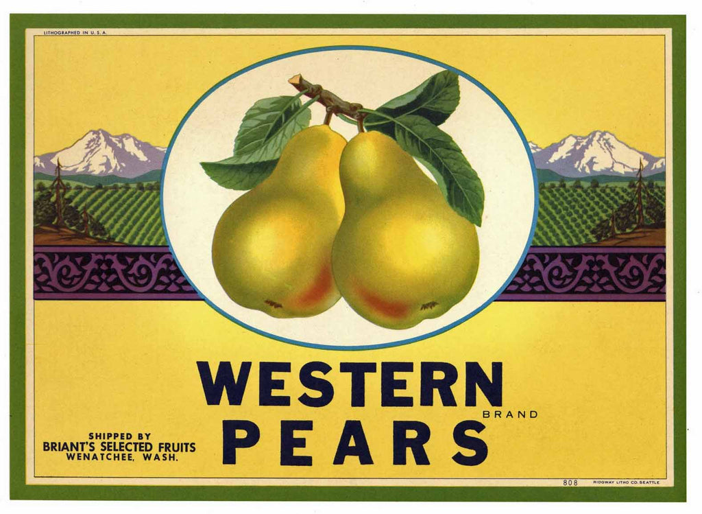 Western Brand Vintage Wenatchee, Washington Pear Crate Label