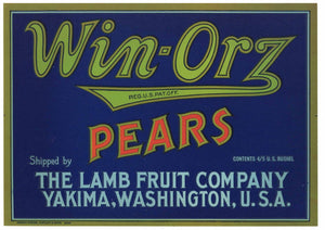 Win-Orz Brand Vintage Yakima Washington Pear Crate Label
