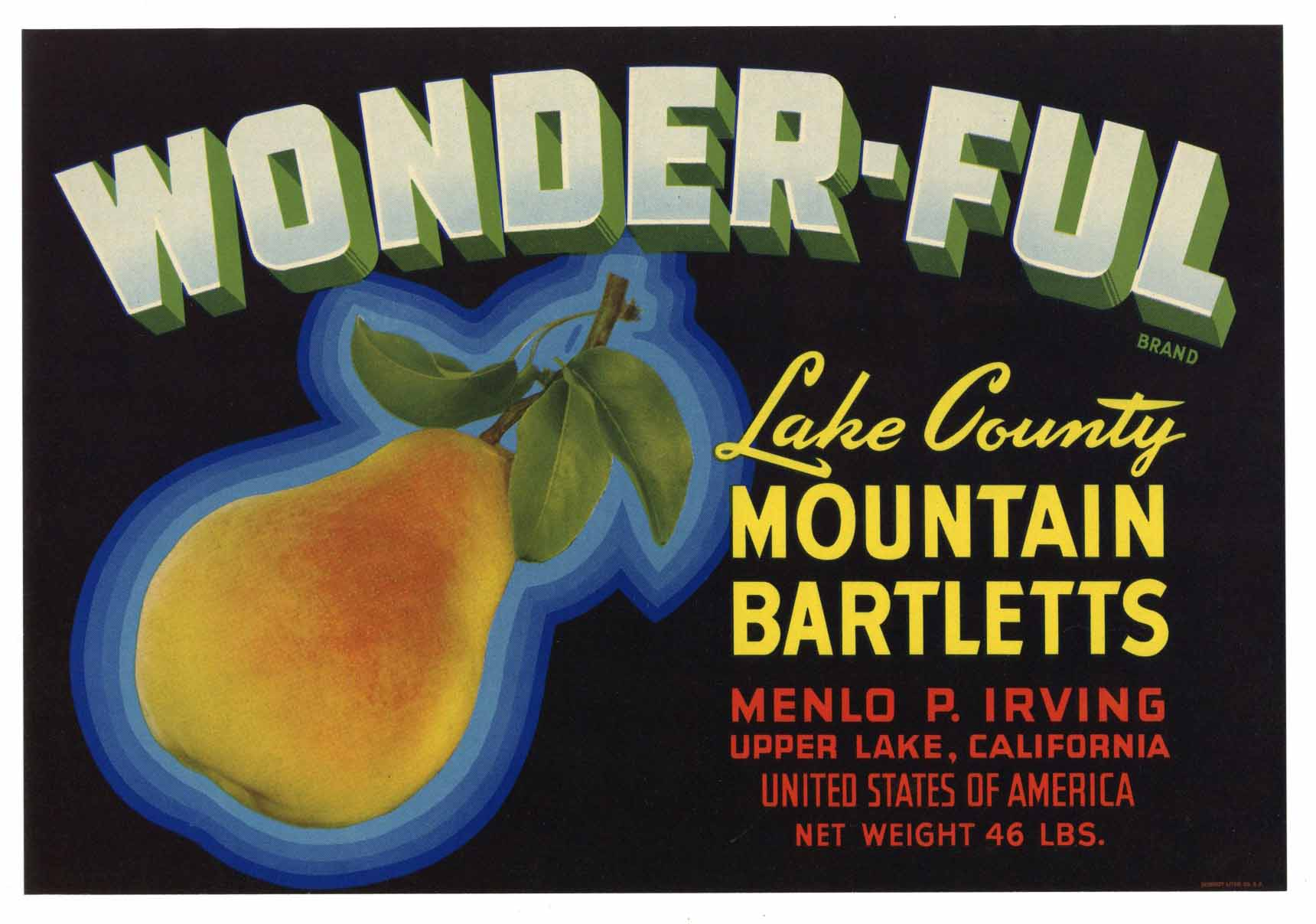 Wonder-Ful Brand Vintage Lake County Pear Crate Label