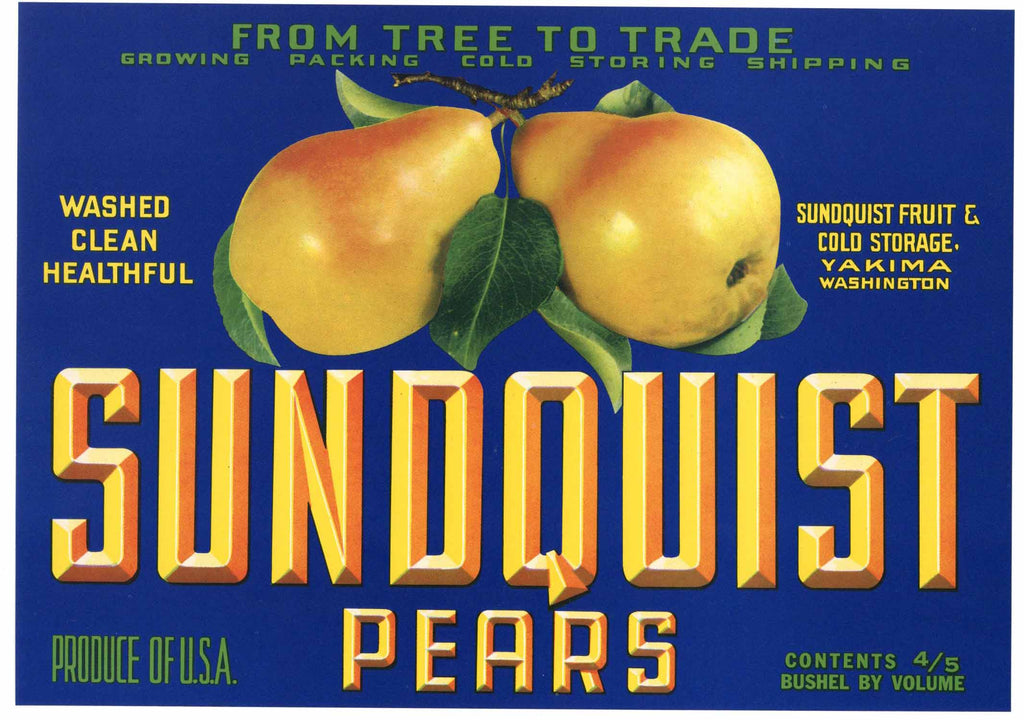 Sundquist Brand Vintage Yakima Washington Pear Crate Label