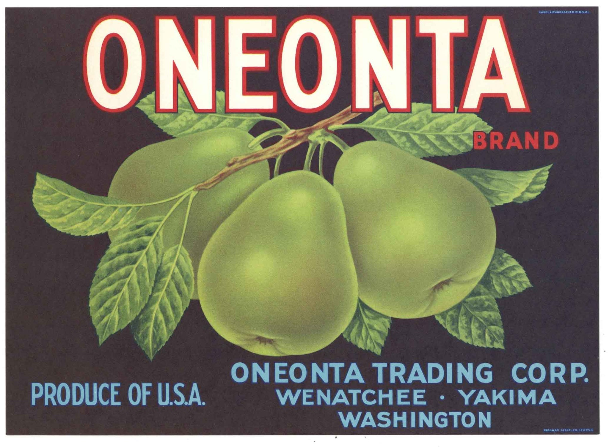 Oneonta Brand Vintage Washington Pear Crate Label