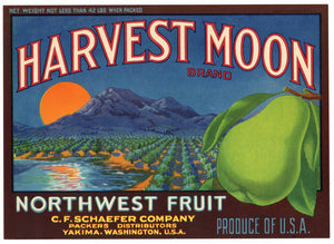 Harvest Moon Brand Vintage Yakima Washington Pear Crate Label