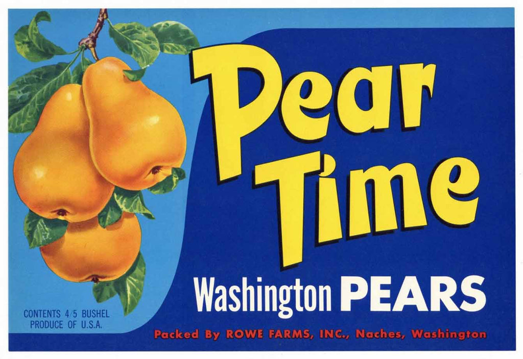 Pear Time Brand Vintage Naches Washington Pear Crate Label