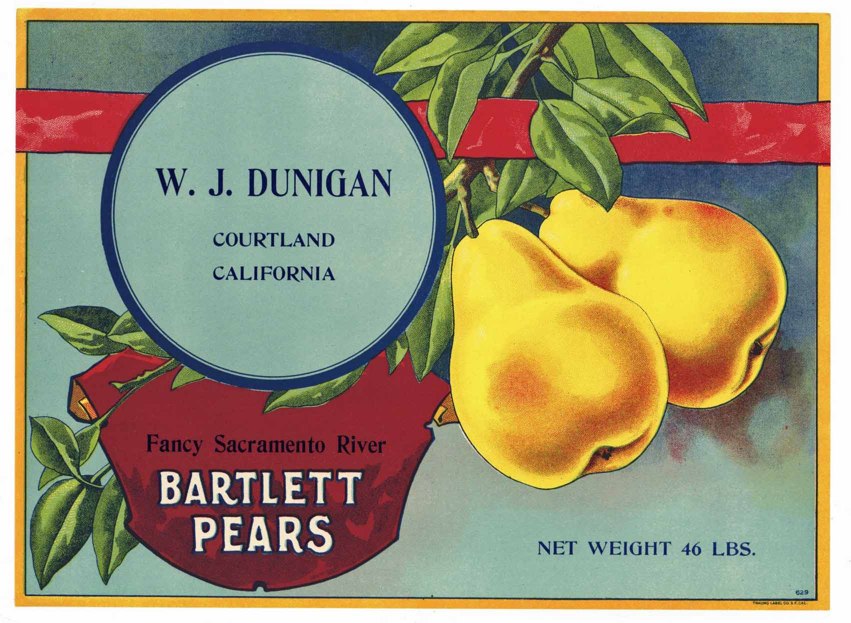 W.J. Dunigan Brand Vintage Courtland Pear Crate Label