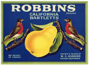 Robbins Brand Vintage Suisun California Pear Crate Label
