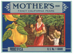 Mother's Brand Vintage Pear Crate Label