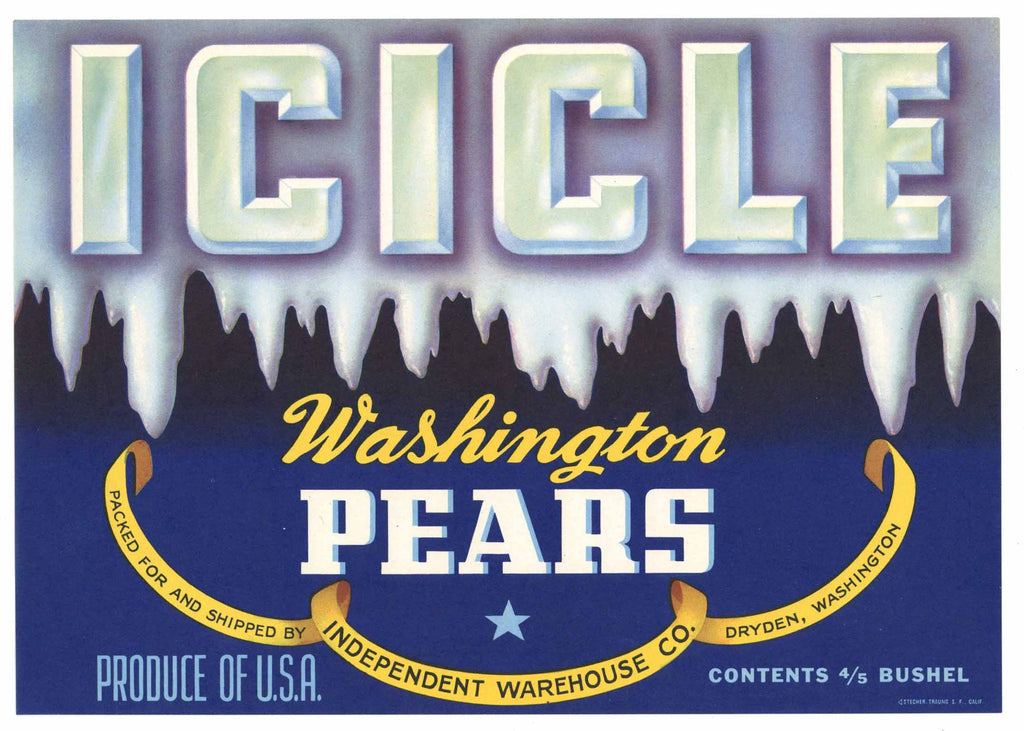 Icicle Brand Vintage Dryden Washington Pear Crate Label