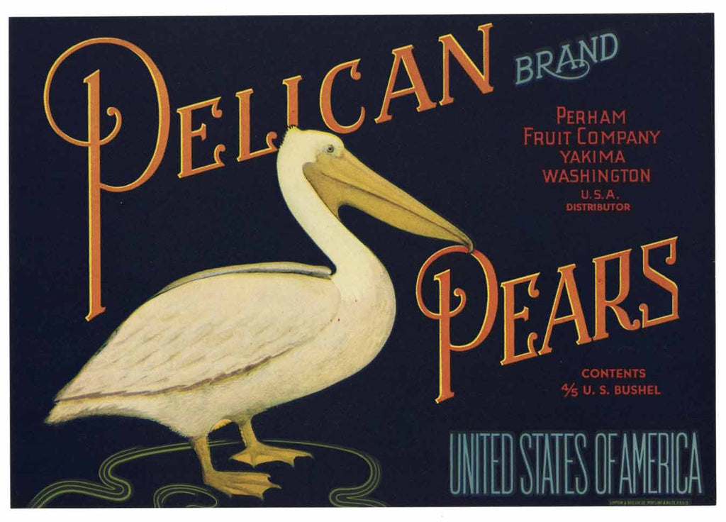 Pelican Brand Vintage Yakima Washington Pear Crate Label