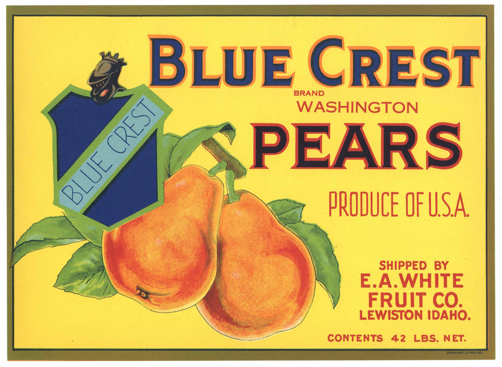 Blue Crest Brand Vintage Lewiston Idaho Pear Crate Label