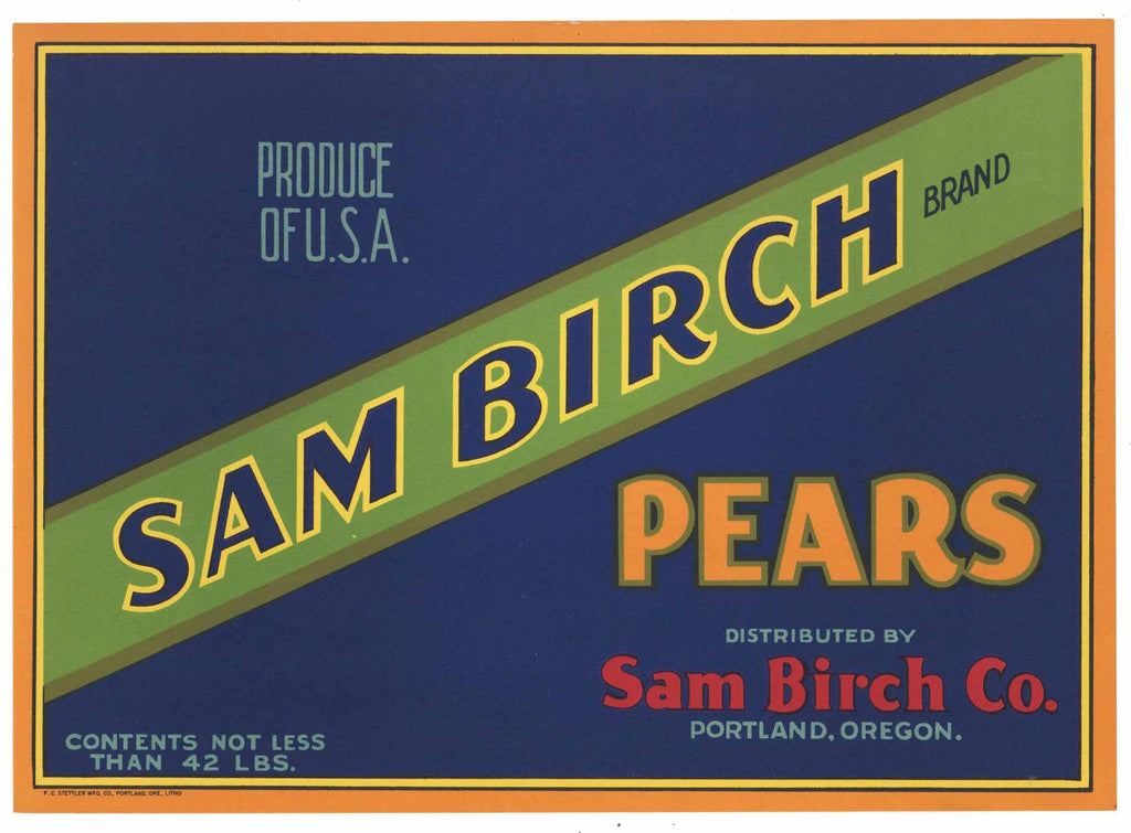 Sam Birch Brand Vintage Portland Oregon Pear Crate Label