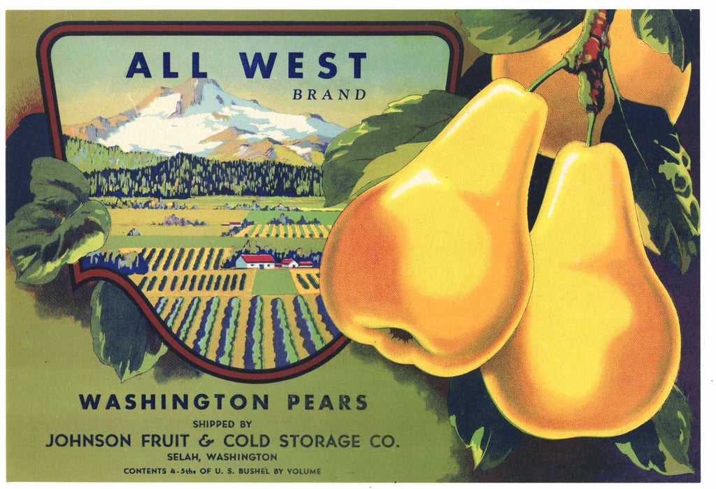 All West Brand Vintage Selah Washington Pear Crate Label