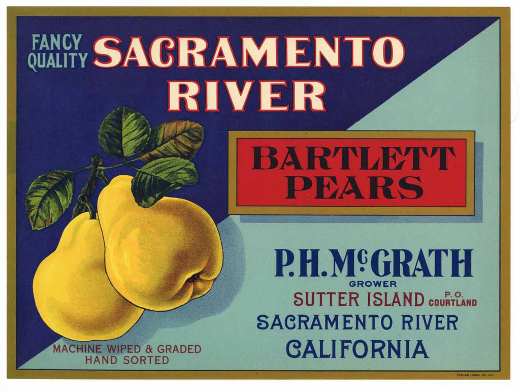 Sacramento River Brand Vintage Pear Crate Label