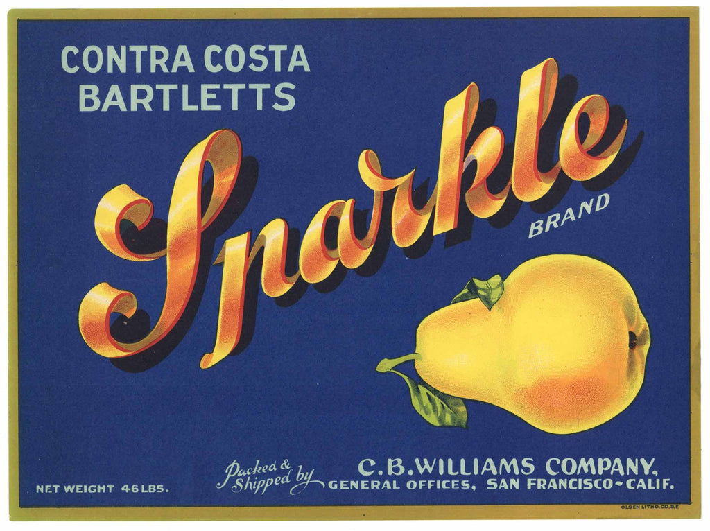 Sparkle Brand Vintage Contra Costa County Pear Crate Label