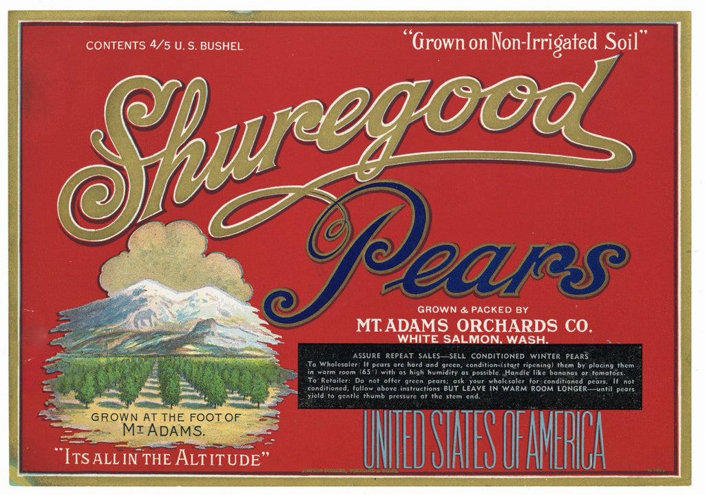 Shuregood Brand Vintage Washington Pear Crate Label, red