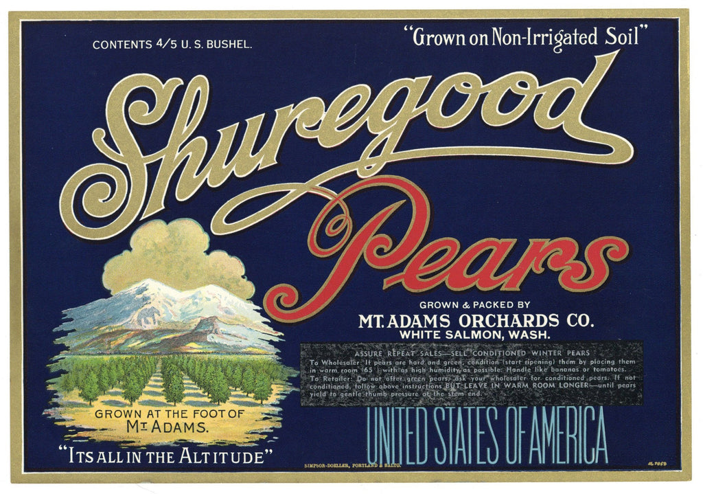 Shuregood Brand Vintage Washington Pear Crate Label, blue