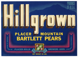 Hillgrown Brand Vintage Lincoln Placer County Pear Crate Label