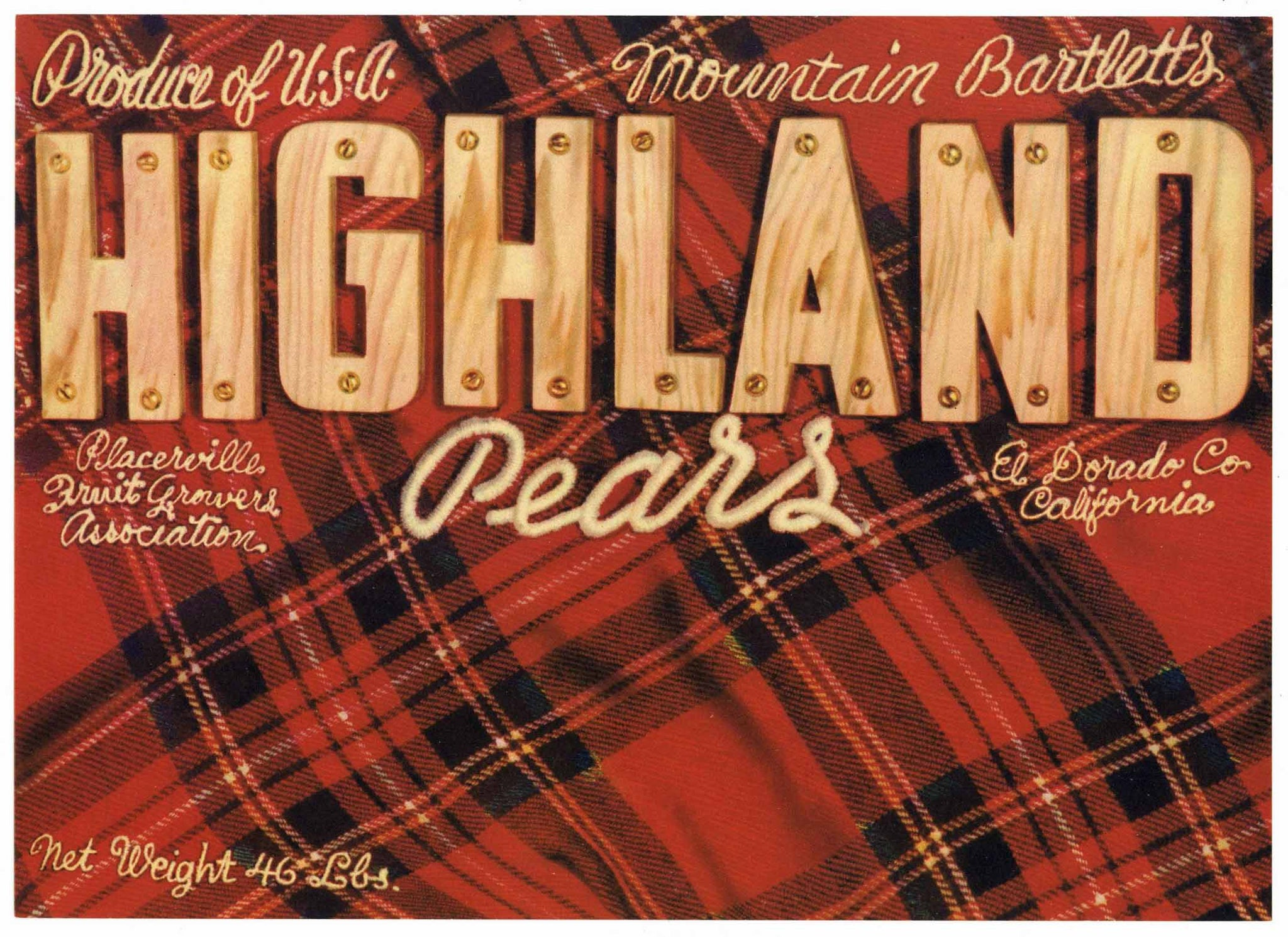 Highland Brand Vintage Placerville Pear Crate Label