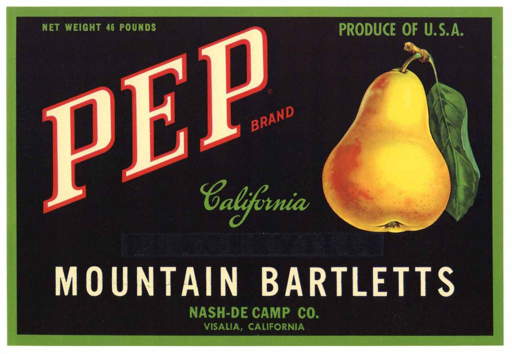 Pep Brand Vintage Pear Crate Label