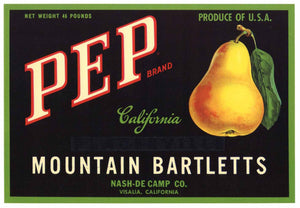 PEP Brand Vintage Pear Crate Label (P544)