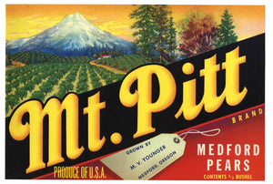 Mt. Pitt Brand Vintage Medford Oregon Pear Fruit Crate Label L
