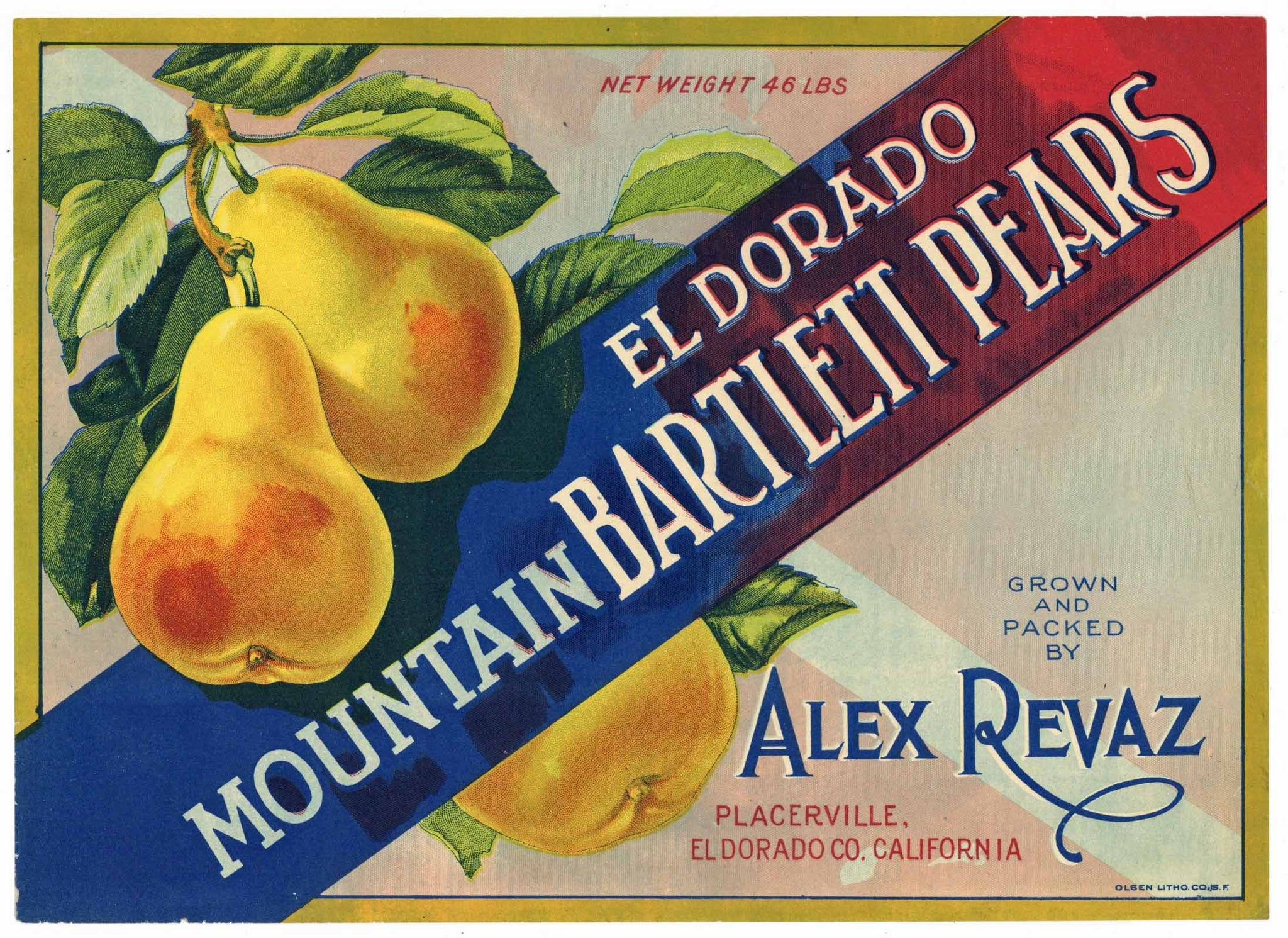 Alex Revaz Brand Vintage Placerville California Pear Crate Label