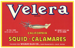 Velera Brand Vintage Squid Case End Can Label