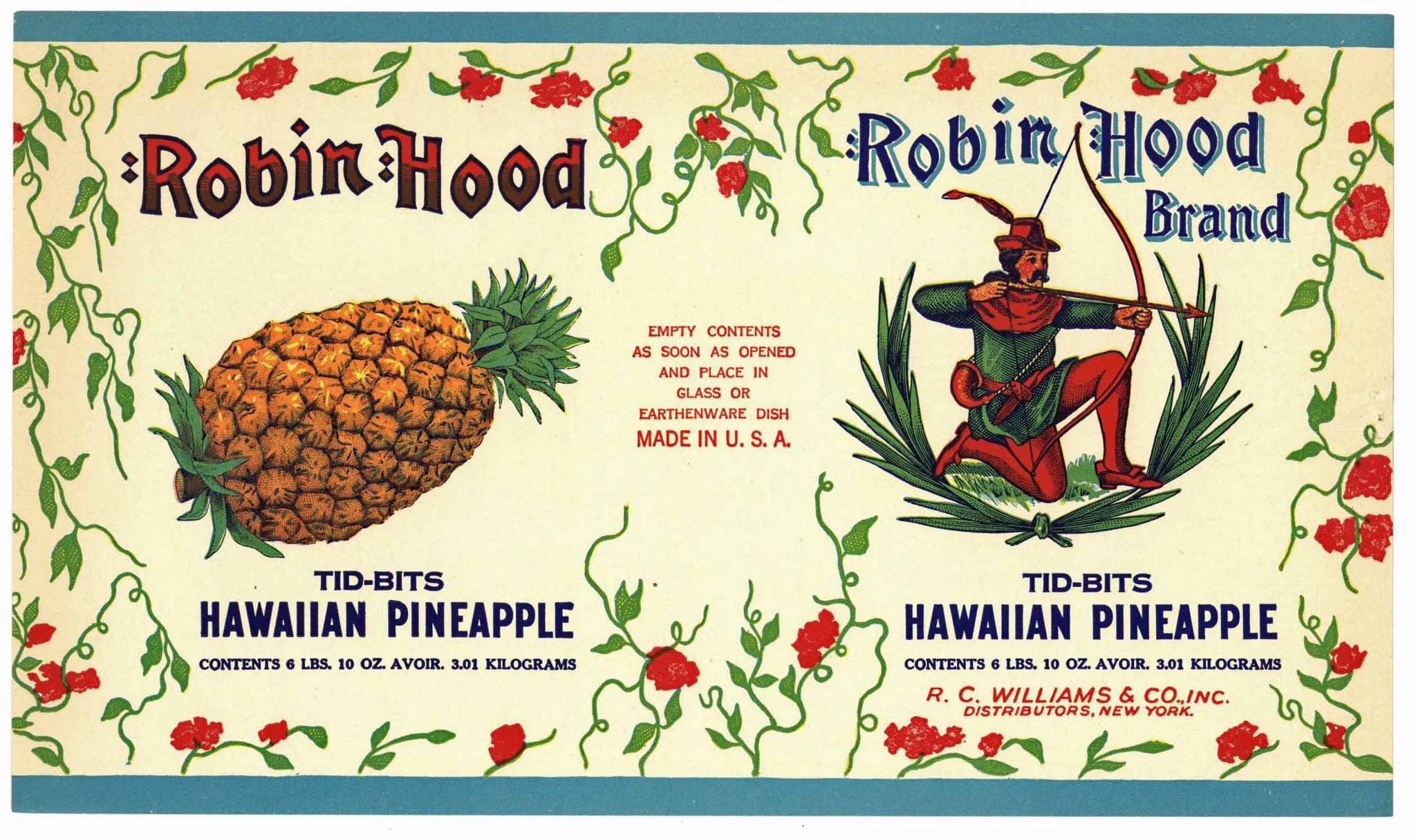 Robin Hood Brand Vintage Pineapple Can Label