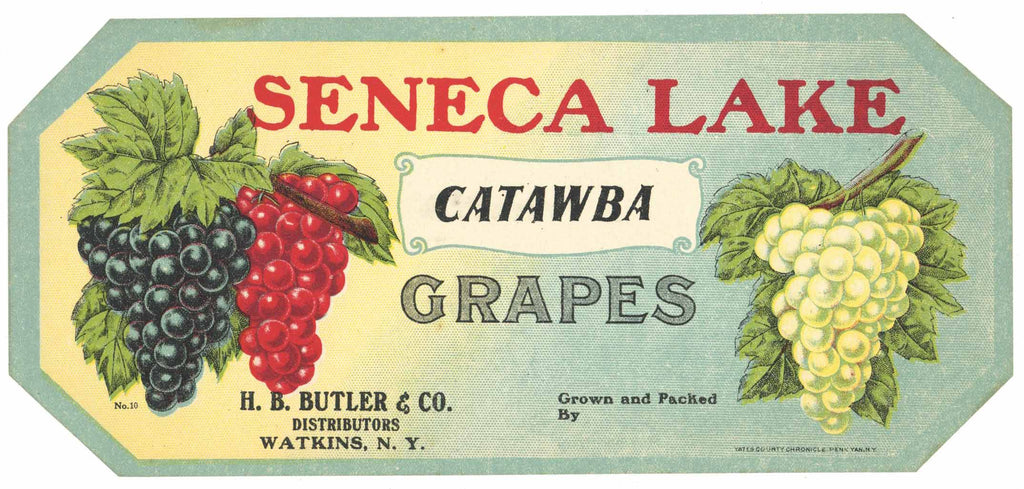 Seneca Lake Brand Vintage New York Grape Crate Label, catawba
