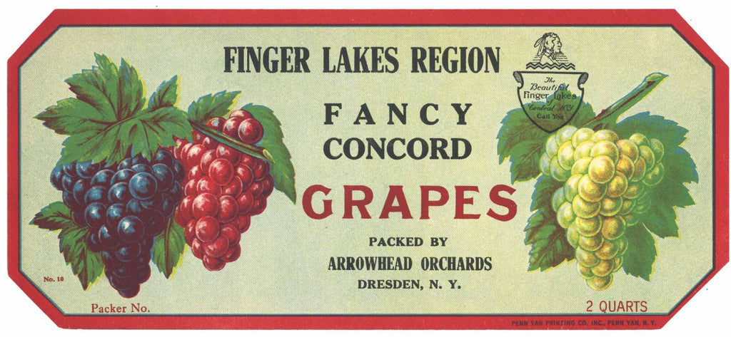 Finger Lakes Region Brand Vintage New York Grape Crate Label, Dresden