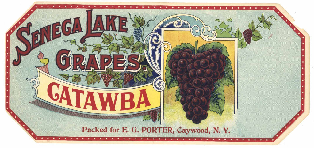 Seneca Lake Brand Vintage New York Grape Crate Label, Caywood