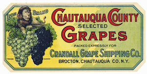 Lion Brand Vintage Brocton New York Grape Crate Label