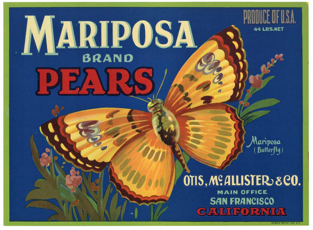 Mariposa Brand Vintage Pear Crate Label, Butterfly