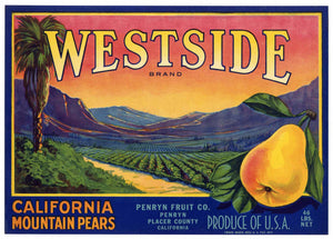 Westside Brand Vintage Placer County Pear Crate Label
