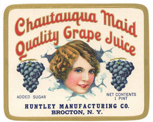 Chautauqua Maid Brand Vintage Grape Juice Bottle Label