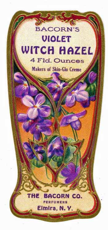 Bacorn's Violet Brand Vintage New York Witch Hazel Bottle Label