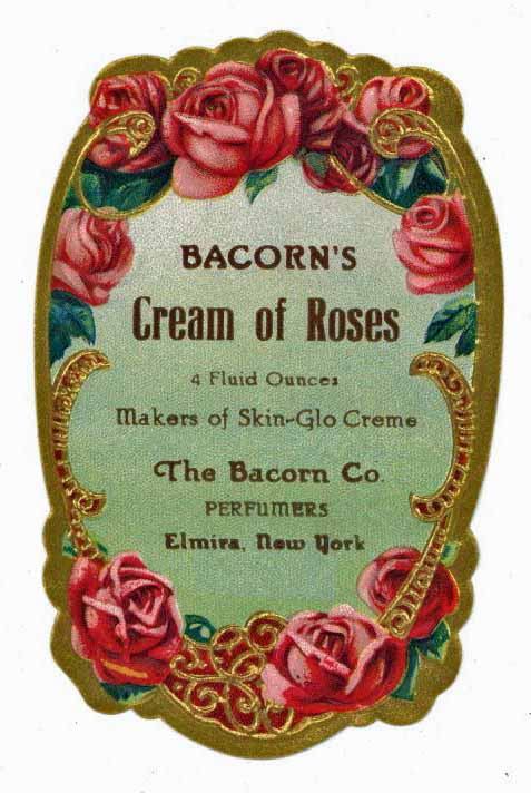 Bacorn's Cream Of Roses Brand Vintage New York Perfume Bottle Label