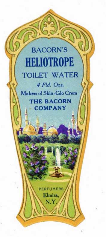 Bacorn's Heliotrope Brand Vintage New York Toilet Water Bottle Label