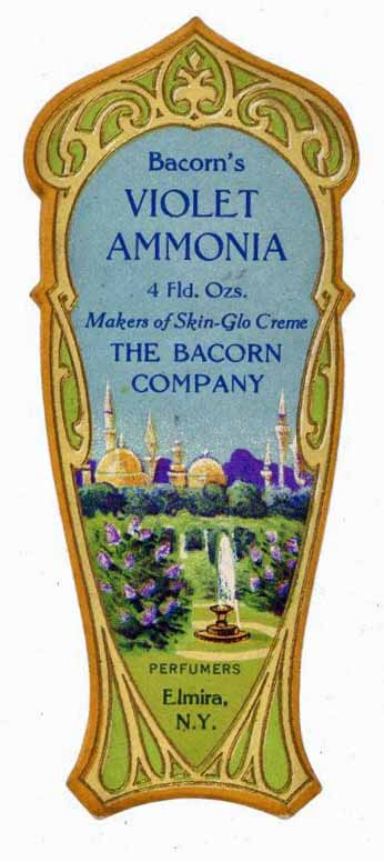 Bacorn's Violet Ammonia Brand Vintage New York Perfume Bottle Label