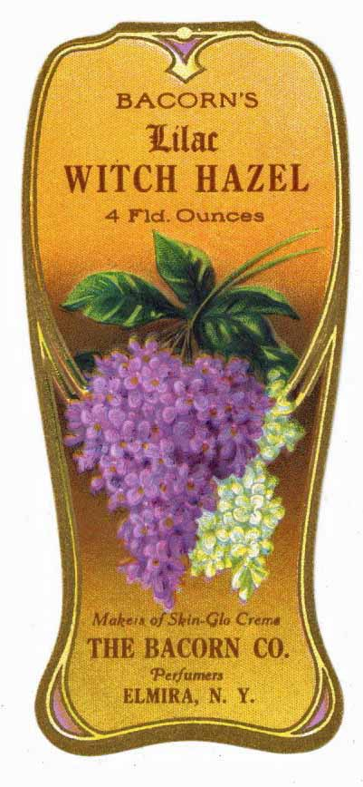 Bacorn's Lilac Brand Vintage New York Witch Hazel Bottle Label