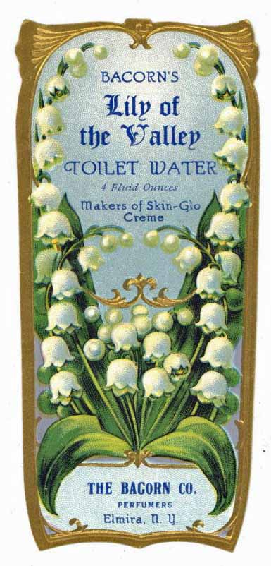 Bacorn's Lily Of The Valley Brand Vintage New York Toilet Water Bottle Label