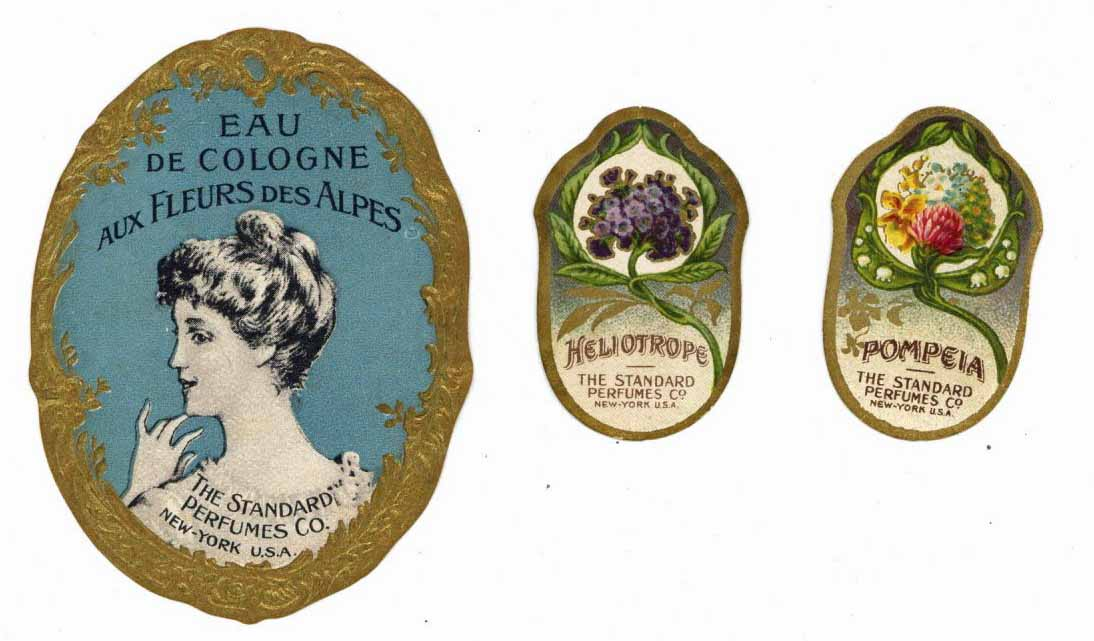The Standard Perfumes Co. Vintage Perfume Bottle Label Set Of Three