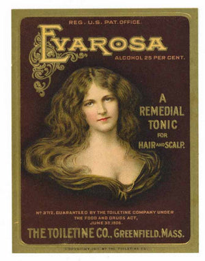 Evarosa Brand Vintage Remedial Hair and Scalp Tonic Bottle Label
