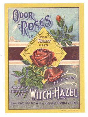 Odor Roses Brand Vintage Frankfort New York Perfume Bottle Label