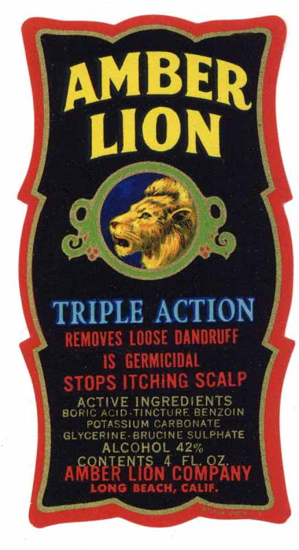 Amber Lion Brand Vintage Long Beach California Shampoo Bottle Label