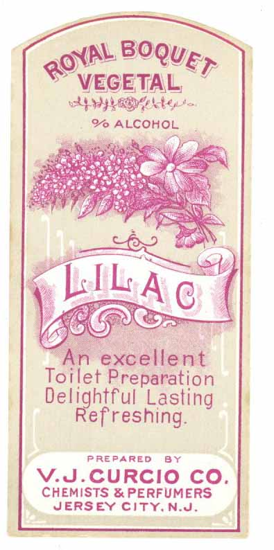 Lilac Brand Vintage New Jersey Toilet Water Bottle Label