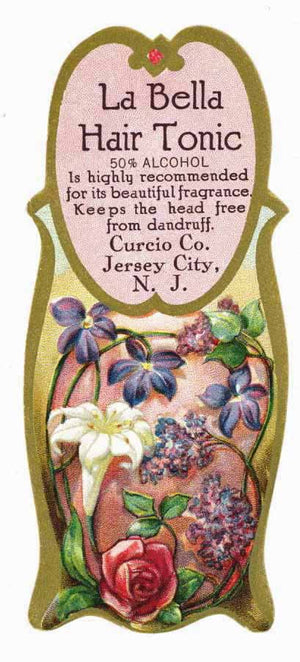 La Bella Brand Vintage New Jersey Hair Tonic Bottle Label