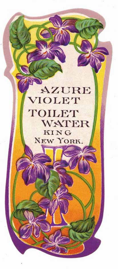 Azure Violet Brand Vintage New York Toilet Water Bottle Label