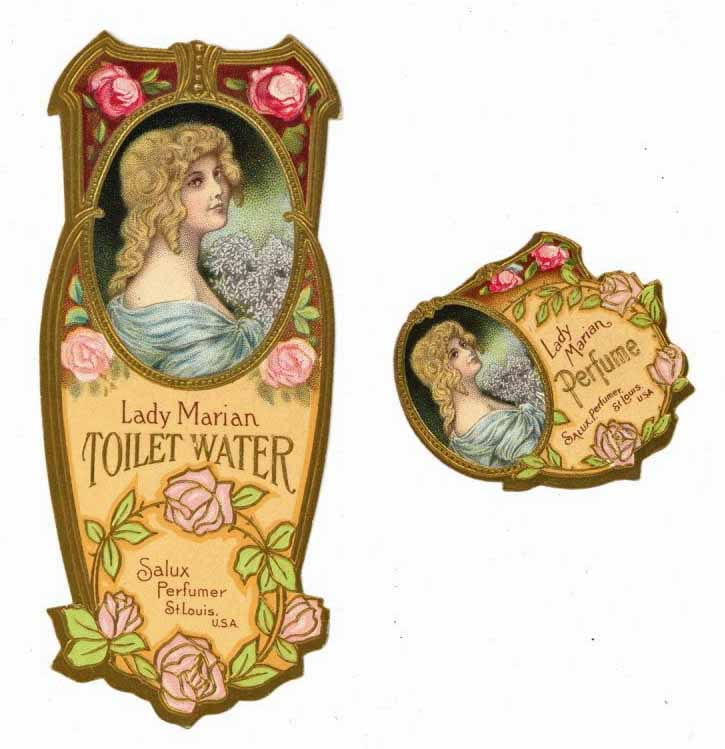 Lady Marian Brand Vintage Perfume Bottle Label Set Of 2