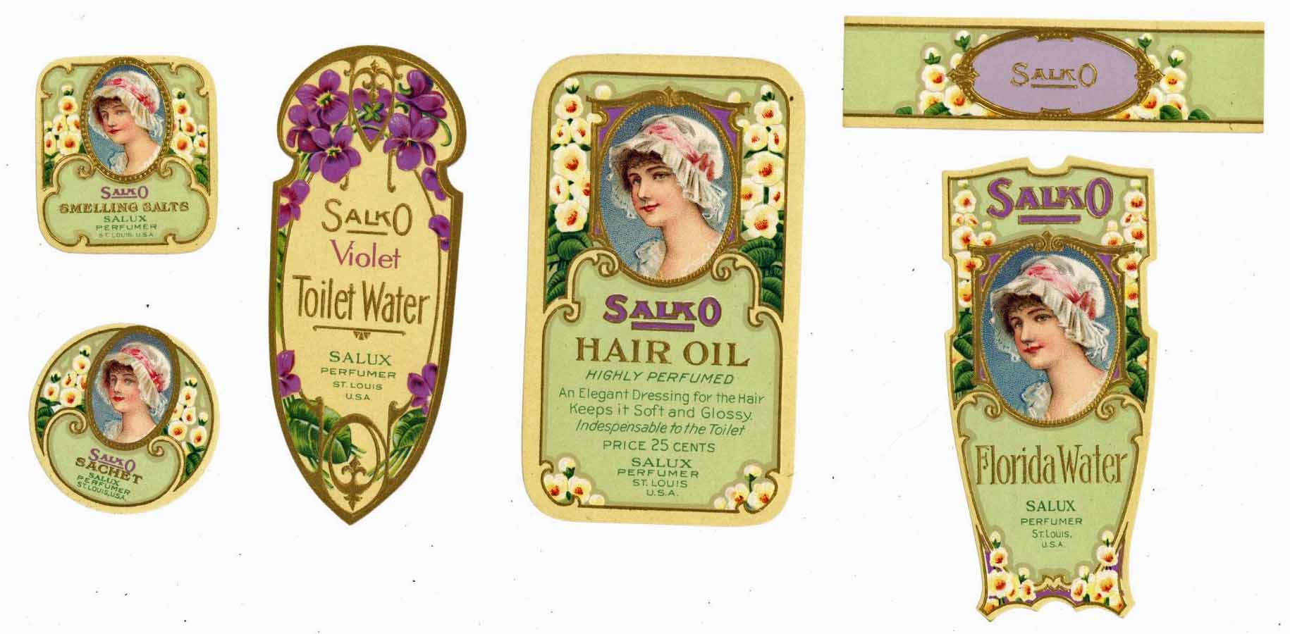 Salko Brand Vintage Perfume Bottle Label Set Of 5